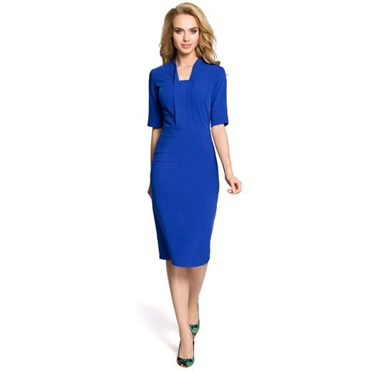 Sukienka Moe midi na wiosnę na co dzień ołówkowa z długim rękawem Odzież Damska TA niebieski HJWQ