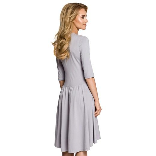 Sukienka Moe z długim rękawem dzianinowa rozkloszowana Odzież Damska IW szary KQTE