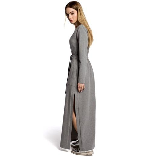 Sukienka Moe dresowa Odzież Damska VZ szary BHKY