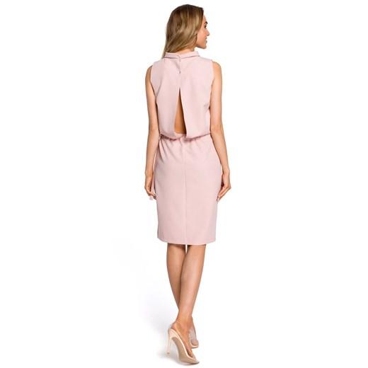 Sukienka Moe na urodziny elegancka midi bez rękawów bez wzorów Odzież Damska KR różowy DXRX