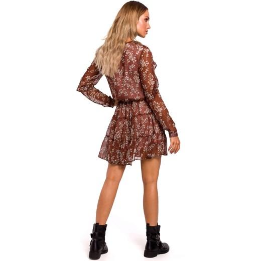 Sukienka Moe na spacer mini z długim rękawem w kwiaty tkaninowa Odzież Damska RW brązowy CUAM