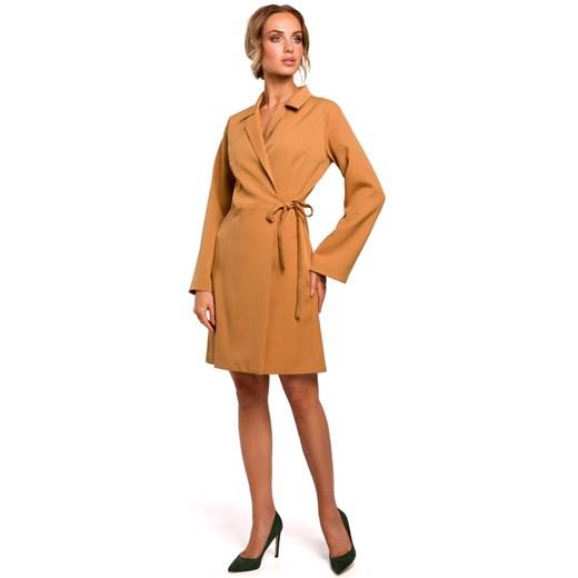 Sukienka Moe z elastanu gładka Odzież Damska WE brązowy AKUT