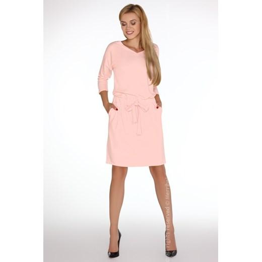 Sukienka Merribel casual z bawełny Odzież Damska BM różowy PNRN