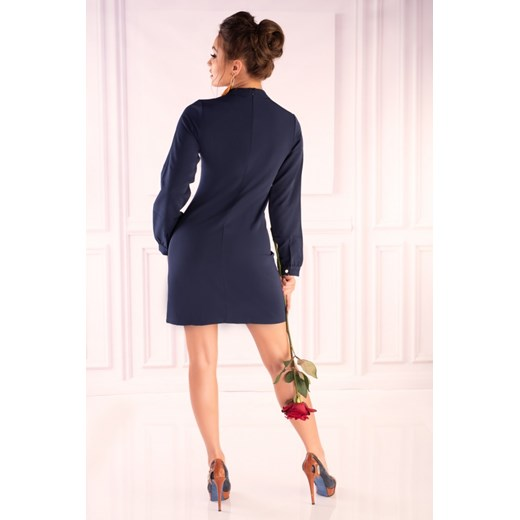 Sukienka Merribel z długim rękawem granatowa z koronką mini Odzież Damska MC granatowy WZCX