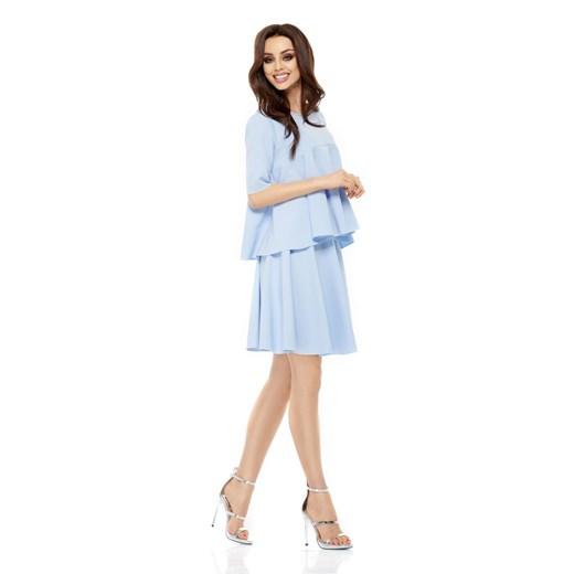 Sukienka Lemoniade z okrągłym dekoltem z długim rękawem Odzież Damska WZ niebieski PAGU