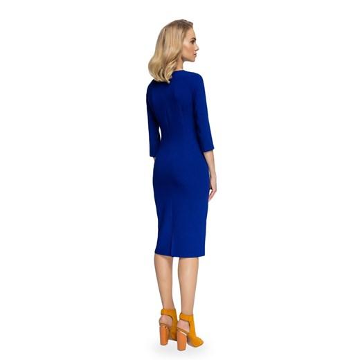Sukienka Style ołówkowa z okrągłym dekoltem gładka Odzież Damska YS granatowy JQEJ