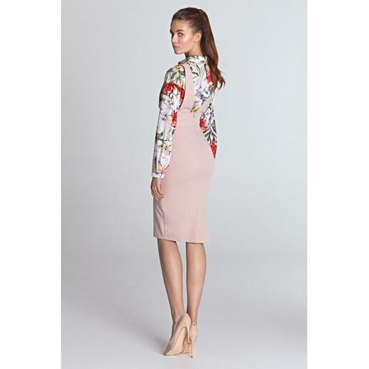 Sukienka Nife z wiskozy ołówkowa Odzież Damska AV beżowy BPYD
