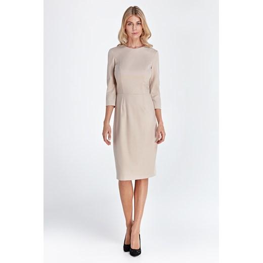 Sukienka Colett z okrągłym dekoltem Odzież Damska GE beżowy TGOC