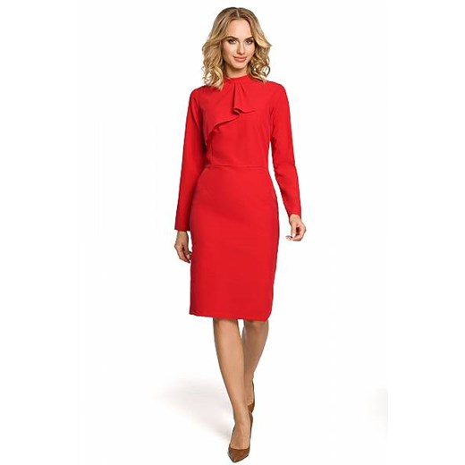 Sukienka Moe ołówkowa z żabotem Odzież Damska AL czerwony BZJV