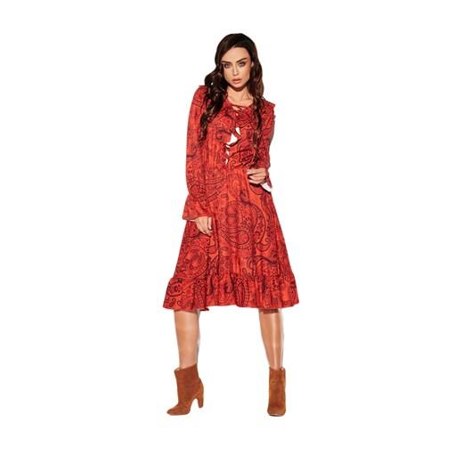 Sukienka Lemoniade w abstrakcyjnym wzorze Odzież Damska WA czerwony JWKC