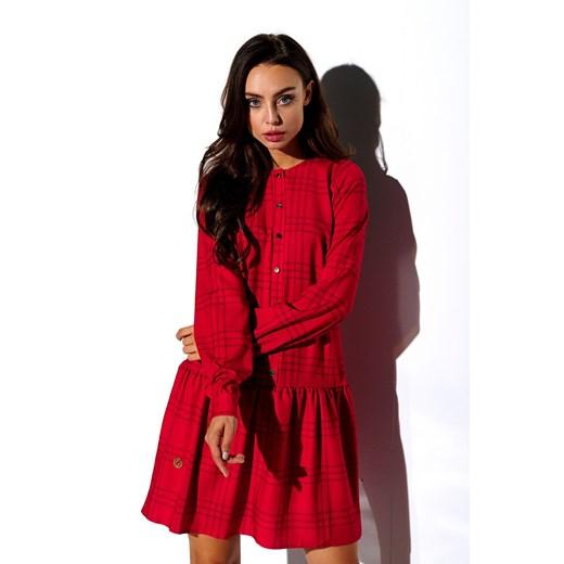 Sukienka Lemoniade z długimi rękawami koszulowa z okrągłym dekoltem Odzież Damska GB czerwony FLXO