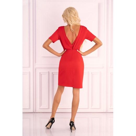 Sukienka Merribel bez wzorów na randkę z krótkim rękawem dopasowana Odzież Damska EQ czerwony CBTK