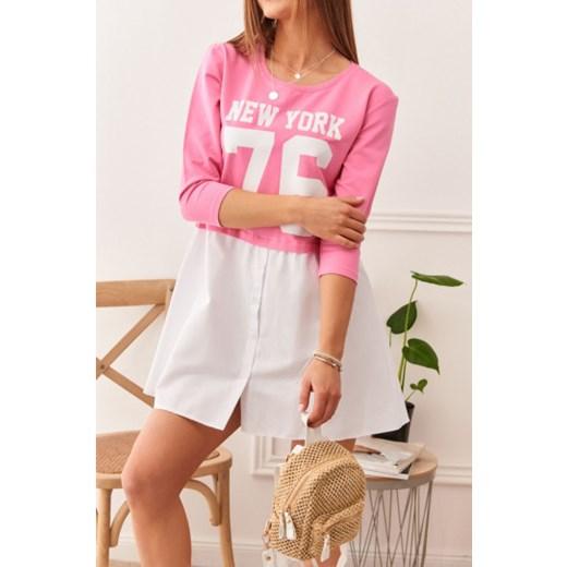 Modna tunika z napisem różowa 3125 fasardi.com promocyjna cena Odzież Damska KM różowy KHCJ