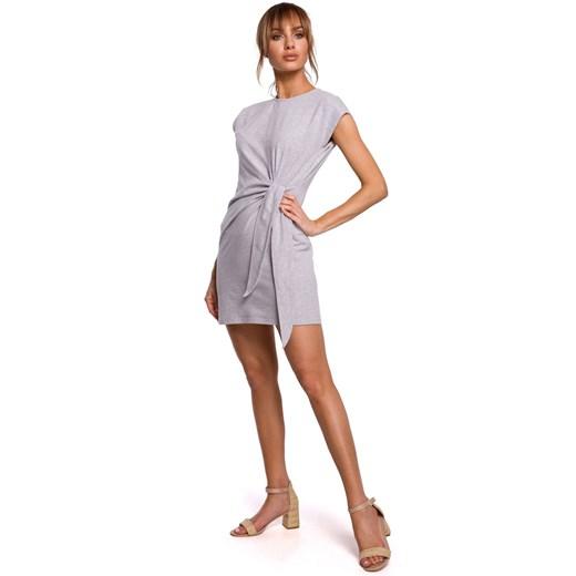 Sukienka Moe mini z elastanu Odzież Damska NY szary MMBJ