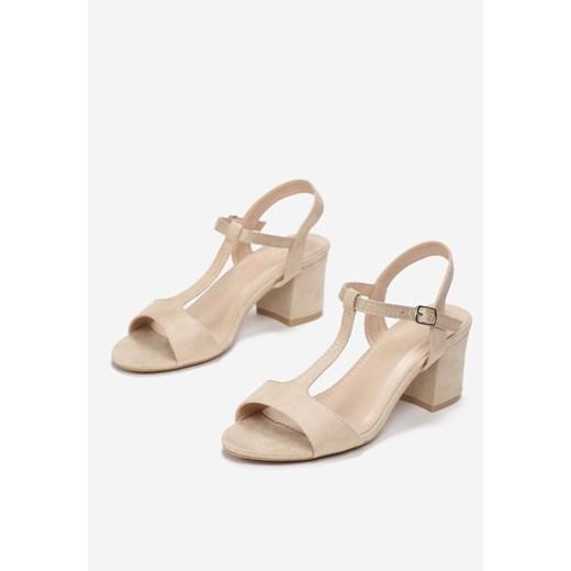 Sandały damskie beżowe Born2be z klamrą eleganckie na średnim obcasie na HQLqh