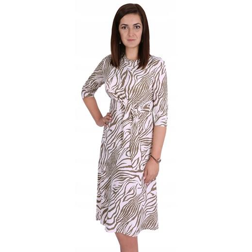 Sukienka asymetryczna z długim rękawem midi Odzież Damska JX IWXY