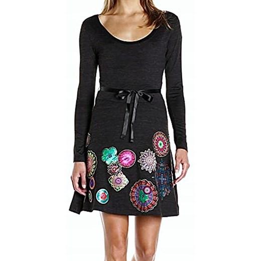 Sukienka Desigual na uczelnię z okrągłym dekoltem z długimi rękawami Odzież Damska QB czarny DNYG