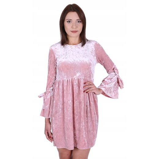 Sukienka z długimi rękawami różowa Odzież Damska GV różowy ZIMN