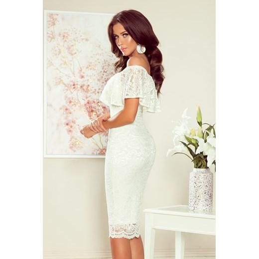 Sukienka Numoco z koronką midi z dekoltem typu hiszpanka Odzież Damska CD biały YASD