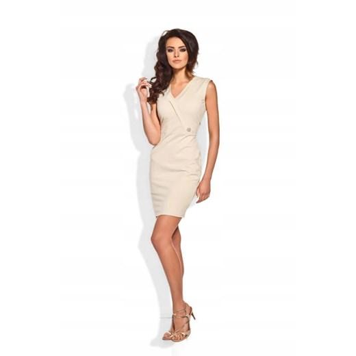 Sukienka dopasowana bez rękawów Odzież Damska EJ beżowy OVMH