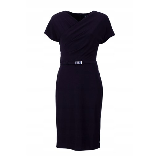 Sukienka czarna Ralph Lauren z okrągłym dekoltem midi biznesowa bez wzorów ołówkowa Odzież Damska ZH czarny FCQF