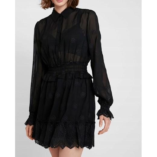 Sukienka na uczelnię koszulowa z długim rękawem casual Odzież Damska JW czarny NYVI