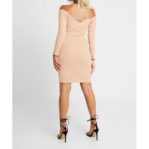 Sukienka Missguided beżowa bez wzorów z długimi rękawami z dekoltem w serek prosta Odzież Damska EP beżowy XIJY