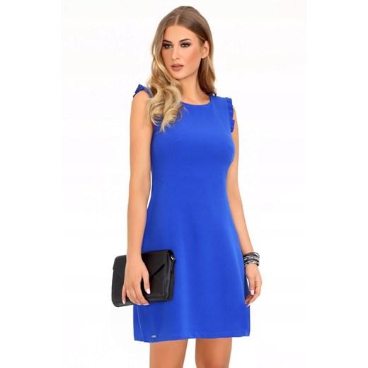 Sukienka niebieska bez rękawów mini Odzież Damska QW niebieski UBBO