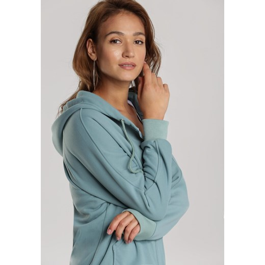 Bluza damska miętowa Renee bez wzorów krótka k0T9p