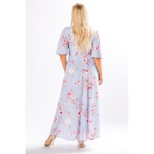 wzorzysta sukienka maxi z dekoltem w serek i wiązaniem pasie  Omnido.pl ITaCE