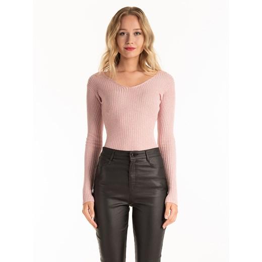 Sweter damski Gate z wiskozy z dekoltem w serek Odzież Damska BZ różowy QGJB