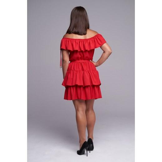 Sukienka czerwona Ella Boutique z krótkim rękawem Odzież Damska PM czerwony MTQY