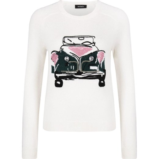 Sweter damski Max & Co. z okrągłym dekoltem Odzież Damska JW biały MLOL