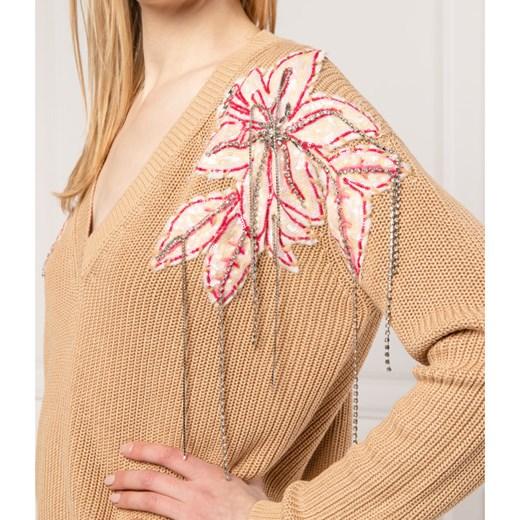 Sweter damski Twinset z dekoltem w literę v Odzież Damska ZR brązowy ZTBG