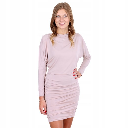 Sukienka z długim rękawem mini Odzież Damska KO różowy TWXD