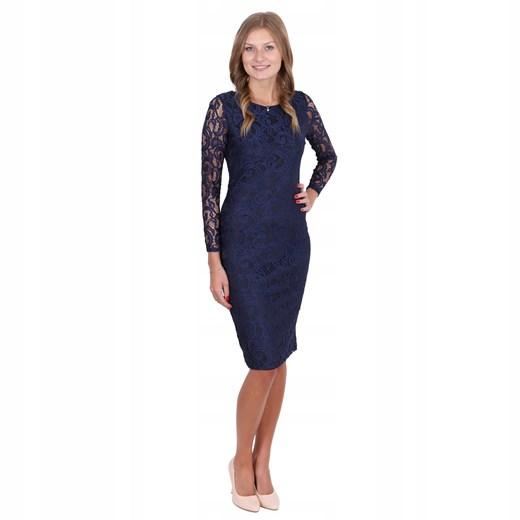 Sukienka z długimi rękawami midi Odzież Damska HD granatowy BLQD