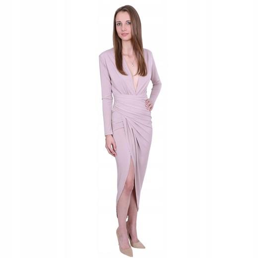 Sukienka dla puszystych Odzież Damska KW różowy OQLI