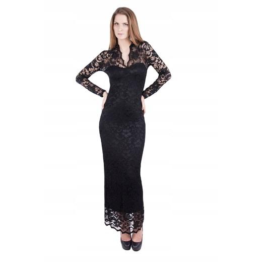 Sukienka z długimi rękawami maxi Odzież Damska MJ czarny XDUE