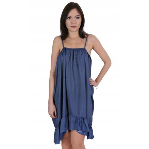Sukienka mini na ramiączkach Odzież Damska CY niebieski NMIB