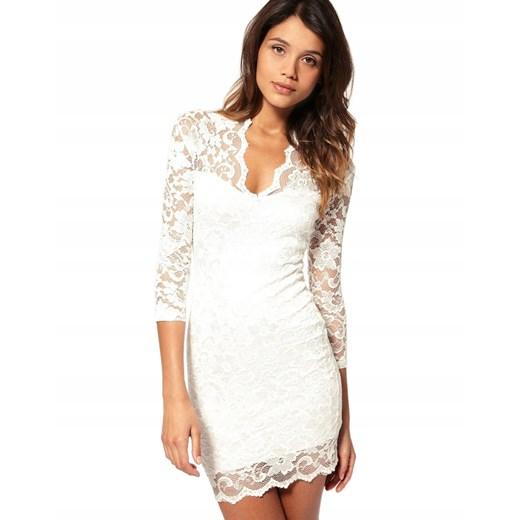 Sukienka z dekoltem w literę v mini z długimi rękawami Odzież Damska AO biały FZWF
