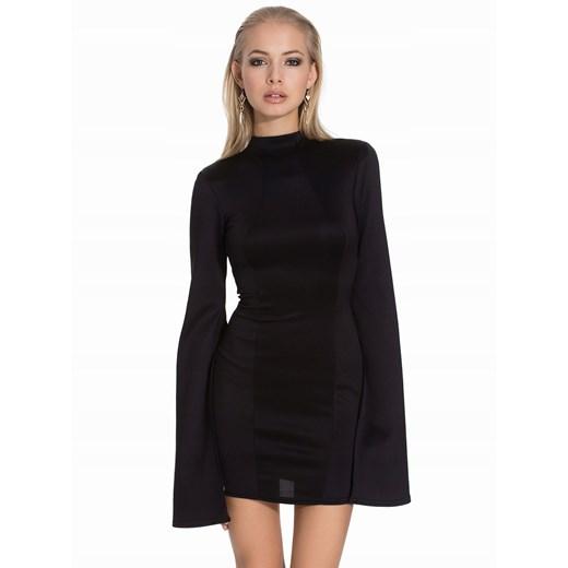 Sukienka czarna mini z długim rękawem gładka Odzież Damska LN czarny WRMM