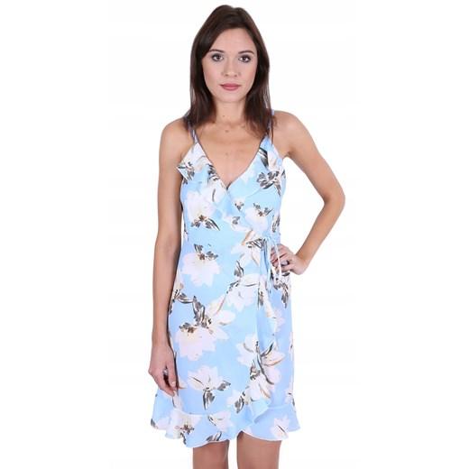Sukienka na ramiączkach mini w serek Odzież Damska CW niebieski UJEV