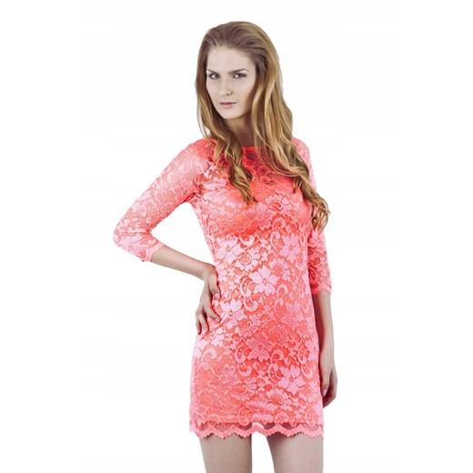 Sukienka koronkowa Odzież Damska HU różowy ZRIV