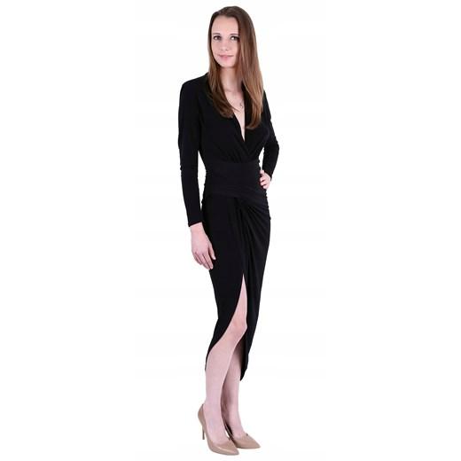 Sukienka czarna maxi z długim rękawem Odzież Damska RK czarny APFI