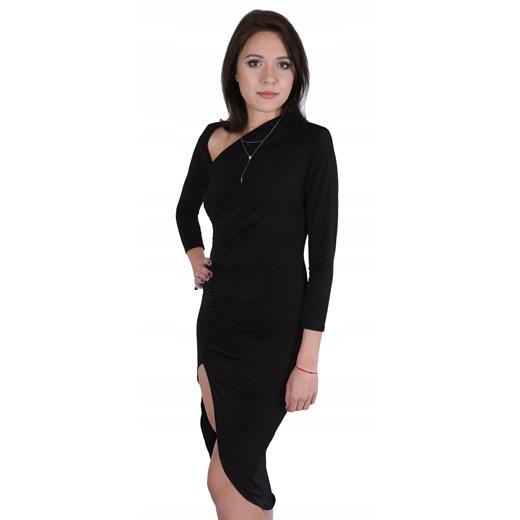 Sukienka czarna asymetryczna Odzież Damska EH czarny QDOS