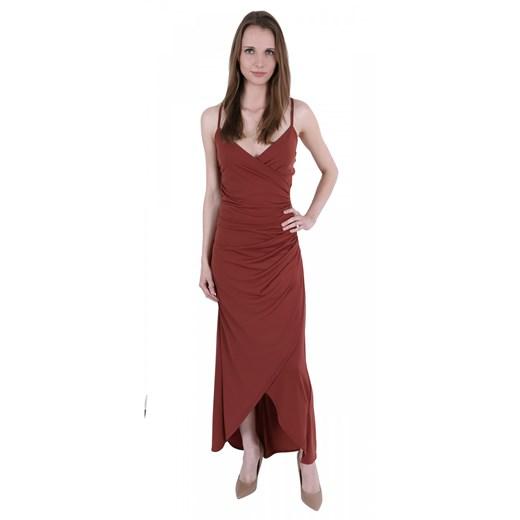 Sukienka maxi w serek Odzież Damska QM czerwony VQCL