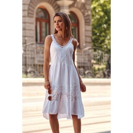 Sukienka Fasardi Odzież Damska AE biały VGTJ