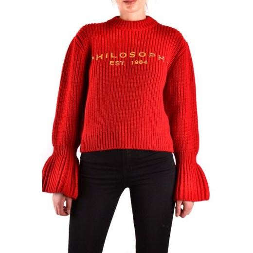 Sweter damski Philosophy z okrągłym dekoltem Odzież Damska ZL czerwony XYPQ