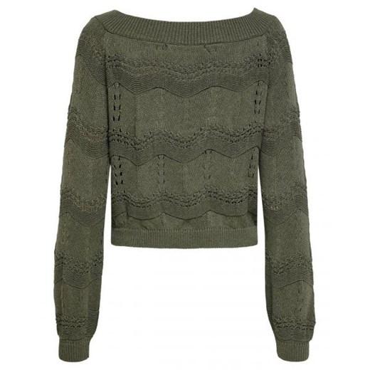 Sweter damski ONLY z okrągłym dekoltem Odzież Damska AE zielony XCDE