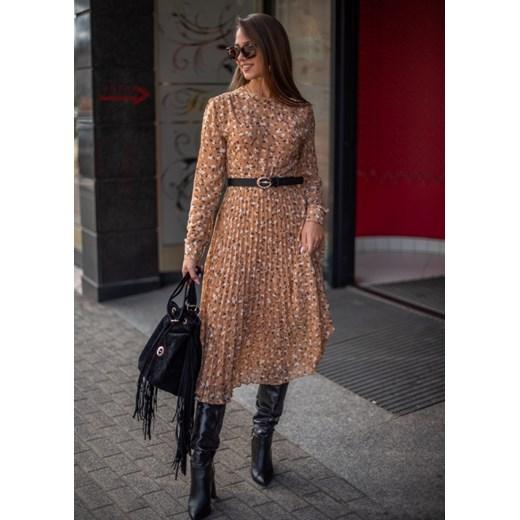 Sukienka Fason na co dzień z długim rękawem Odzież Damska DI brązowy XEMY